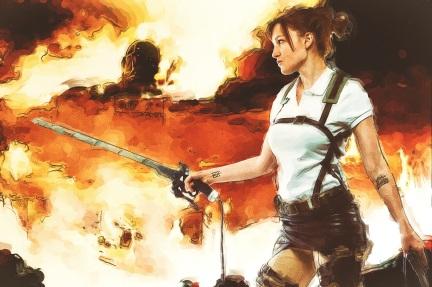JPEG Attack on Titan Fire 8x12